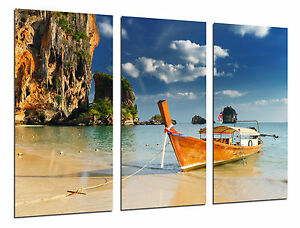 Cuadro Moderno Paisaje Caribe, Playa, Mar, Barcas, Paraiso Tropical, ref. 26535