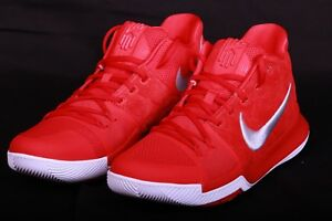 aefdb85aabf8 Nike Mens Kyrie 3 University Red Wolf Grey Basketball Shoes 852395 ...