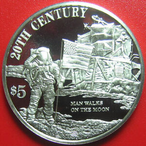 1999-COOK-ISLANDS-5-PROOF-47oz-SILVER-SPACE-MOON-WALK-ASTRONAUT-US-FLAG-32mm