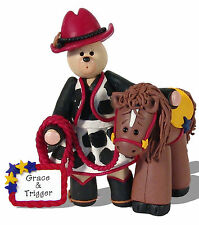COWGIRL  & HORSE Personalized Western Figurine HANDMADE POLYMER CLAY  Deb & Co,