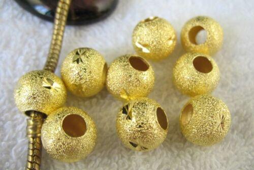 30PCS Plaqué Or Sculpté Stardust Euro perles 12 mm Fit Charm Bracelet W7291