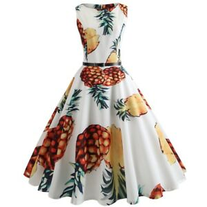 50S-Round-Neck-Sleeveless-Pineapple-Floral-Print-Waist-Slimming-Flare-Dress