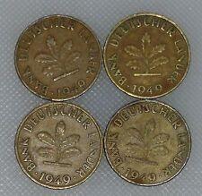 10 Pfennig 1949 D F G J Bank Deutscher Länder Kompletter Satz