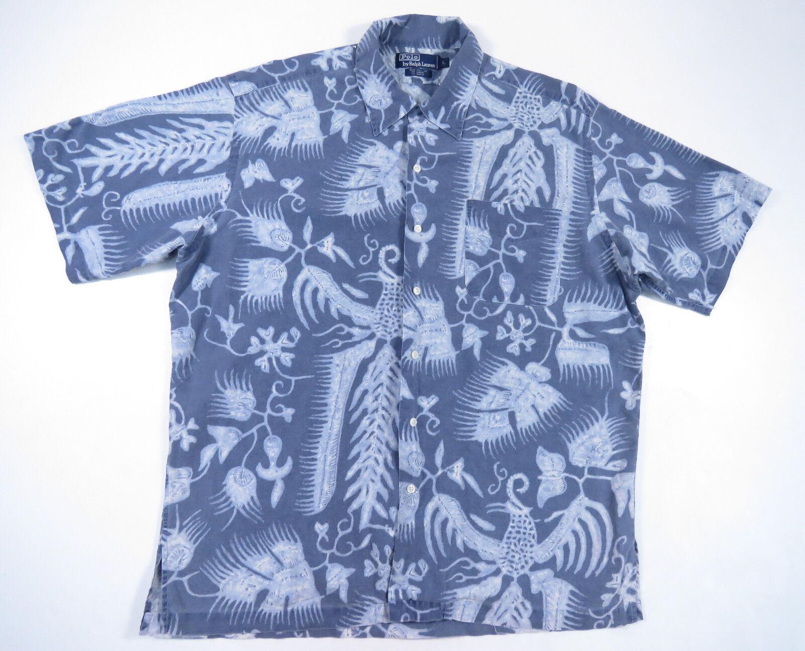 VINTAGE POLO RALPH LAUREN blueE HAWAIIAN FLORAL LOOP COLLAR