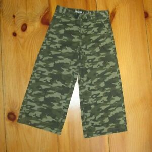 NEW-Gymboree-Girls-Cropped-Pants-Flare-Camouflage-Green-Adjustable-Waist-Size-7