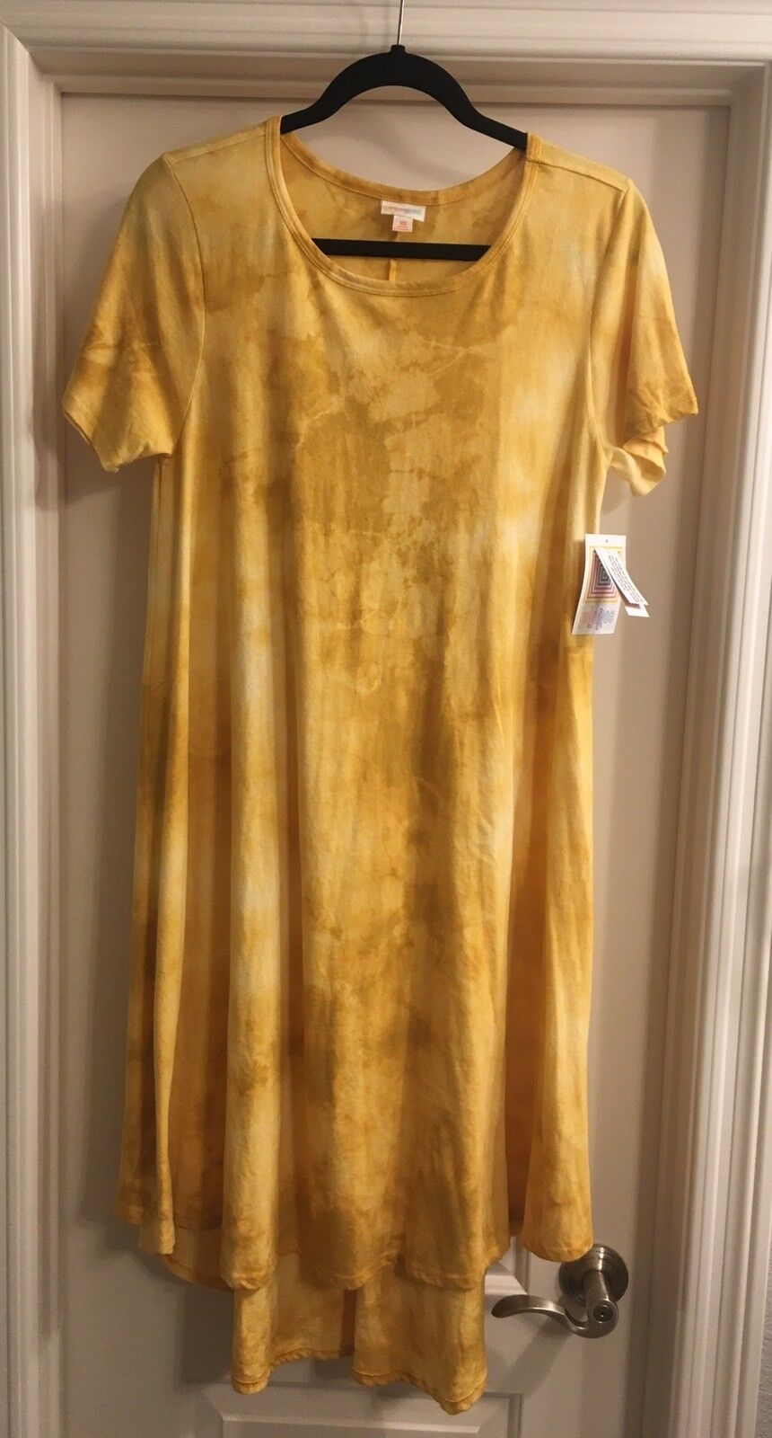 NWT LuLaRoe XS Carly Dress Yellow gold Mustard Tie Dye Acid Wash Unicorn