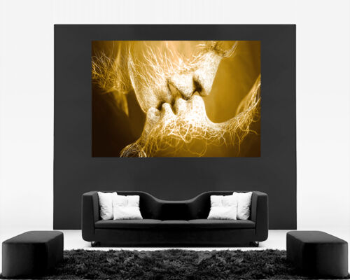 Brown//Gold Tones Love Kiss Abstract Art on CANVAS WALL ART Picture Print