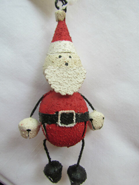 SANTA CLAUS  jingle bell ornaments ~ set 3 bells ~ NOVELTY JINGLE BELL new