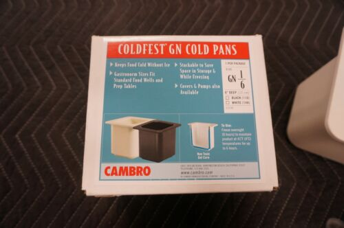 "Camber 66CF148 ColdFest 1//6 size White Food Pan 6/"" deep"
