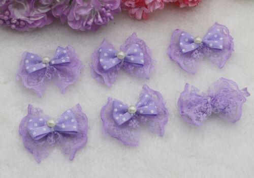20-50PCS DIY Pearl Lace bow Satin Ribbon Appliques Wedding festival Bow knot