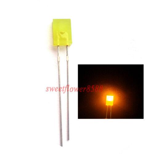 100pcs 2x5x7mm Yellow Diffused Led Rectangle Rectangular Light LED Lamp Bulb New