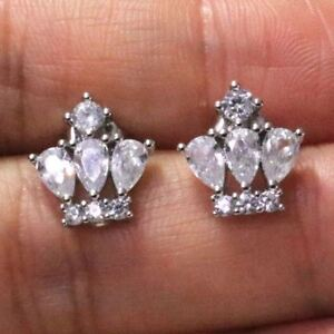 Sparkling-Pear-Cubic-Zirconia-Earring-Stud-Women-Jewelry-14K-White-Gold-Plated