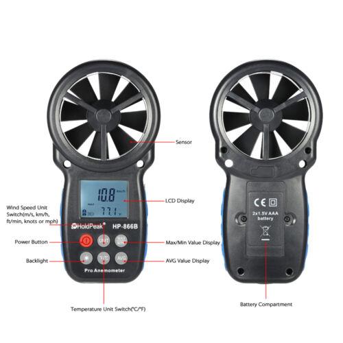 Mini LCD Digital Anemometer Wind Speed Air Velocity Temperature Measuring H7T1