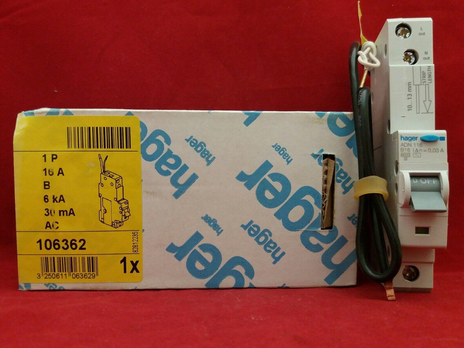 Hager 16 amp 16a RCBO ADN116 30ma MCB//RCD B Type 6kA 106362 New