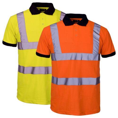 NUOVA linea uomo Alta Visibilità Manica Corta Polo Work Wear T-shirt Hi Vis