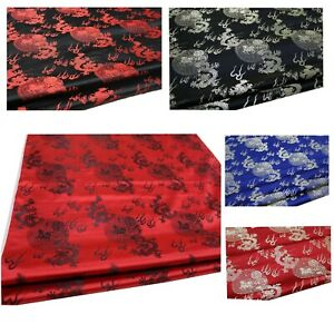 Jacquard Damask Kimono Fabric Material*BC1 Faux Silk Brocade Small Dragon