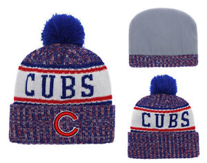 Chicago Cubs New Era MLB Cuffed Knit Winter Beanie Cap w  Pom  cfabd9dc81c