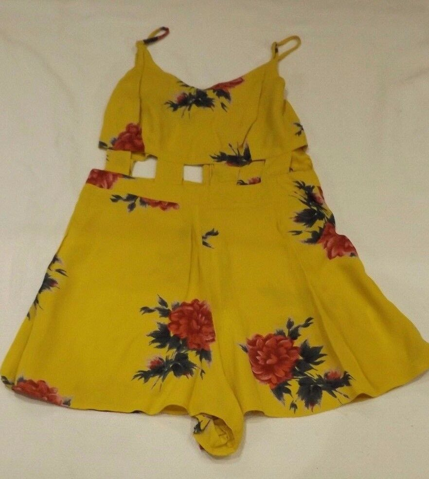 LADIES TOPSHOP YELLOW SUMMER BEACH FLORAL WITH CUT OUTS PLAYSUIT