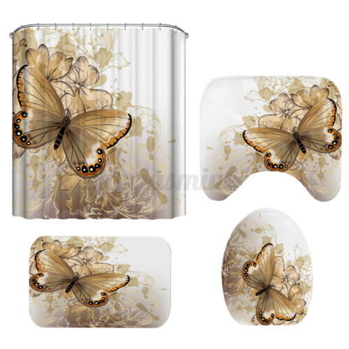 Butterfly Waterproof Shower Curtain Non-slip Toilet Covers Seat Mat Rug Set O