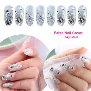 24-Pcs-French-Nails-False-Nail-Cover-Crystal-Diamond-glitter-Nail-Tool-A