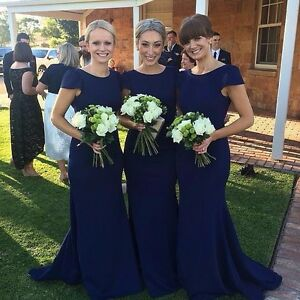 professional sale get new factory outlet Details about Cap Sleeve Navy Blue Trumpet Bridesmaid Dresses Formal Bridal  Party Prom Gowns