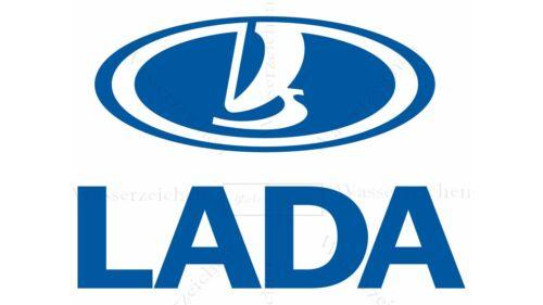 25cm AUFKLEBER-STICKER-UV/&Waschanlagenfest Lada blau Logo Auto AD235