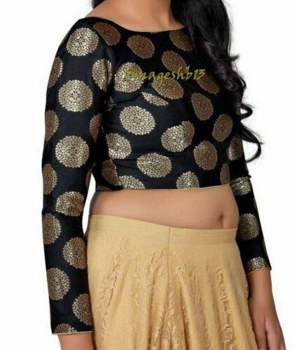 Readymade Saree Blouse,Designer Brocade Silk Sari Blouse,Boat Neck Padded Blouse