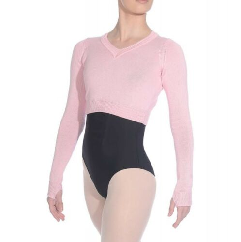 NEW GIRLS LADIES BALLET TAP DANCE CROPPED KNITTED JUMPER PINK BLACK GREY RV KNIT