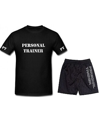 Printed Polo Shirt Shorts Set PERSONAL TRAINER Workout Gym Fitness PT T Tee