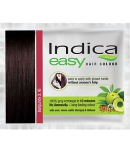 5 x Indica Easy 10 Minutes Hair Color Shampoo Based (Burgundy) No ...