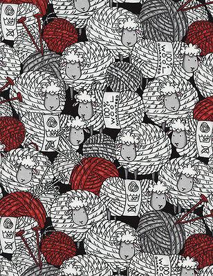 Timeless Treasures Sheep & Yarn Knitting Wool Black Fabric