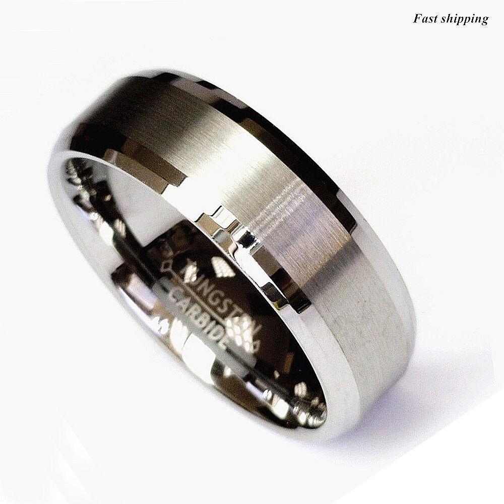 Titanium Color Two Tone Tungsten Carbide Wedding Band Men ...