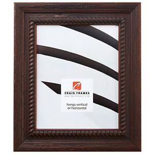 Craig-Frames-Barn-Wood-Ornate-2-034-Rustic-Dark-Brown-Wood-Picture-Frame