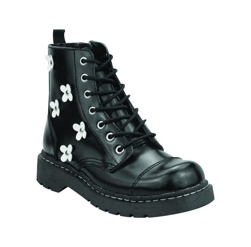 T.U.K Anarchic T2218 Black White Leather White Black Flowers Toe Cap Boat Zip Inside f50307