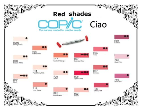Red Shades Refillable With Copic Various Inks Copic Ciao Markers