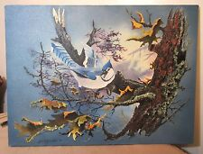 original Jim R Johnaton blue jar bird figural very thick oil painting on canvas
