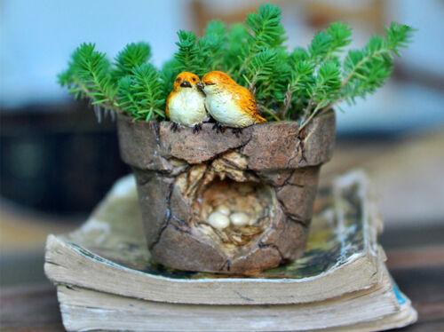 Garden Ornament Figurine Statue Love Birds Eggs Flower Pot Home Garden Decor