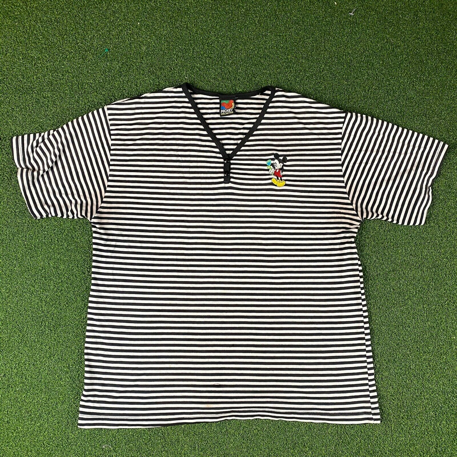 90s Disney Mickey Unlimited Black White Striped Shirt Embroidered Vtg Size Lg