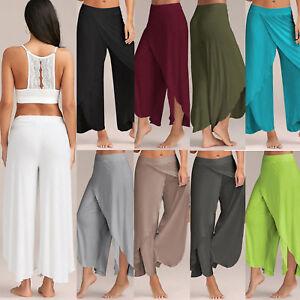 Plus Size Women Palazzo Pants High Waist Wide Leg Harem Yoga