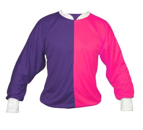 One Size Fancy Dress Purple /& Neon Pink Adults Unisex Jockey Shirt ONLY