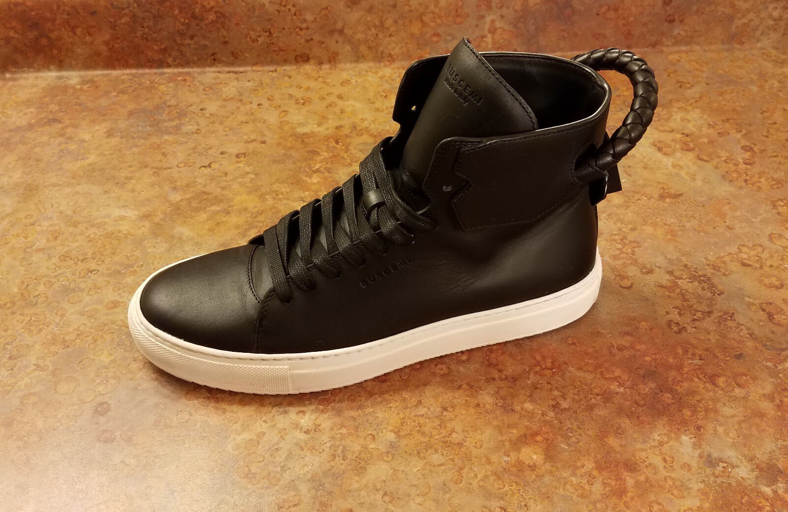 Buscemi 125mm High Top Leather Sneaker Black Mens Size 9 US 42 Eur. MSRP 825