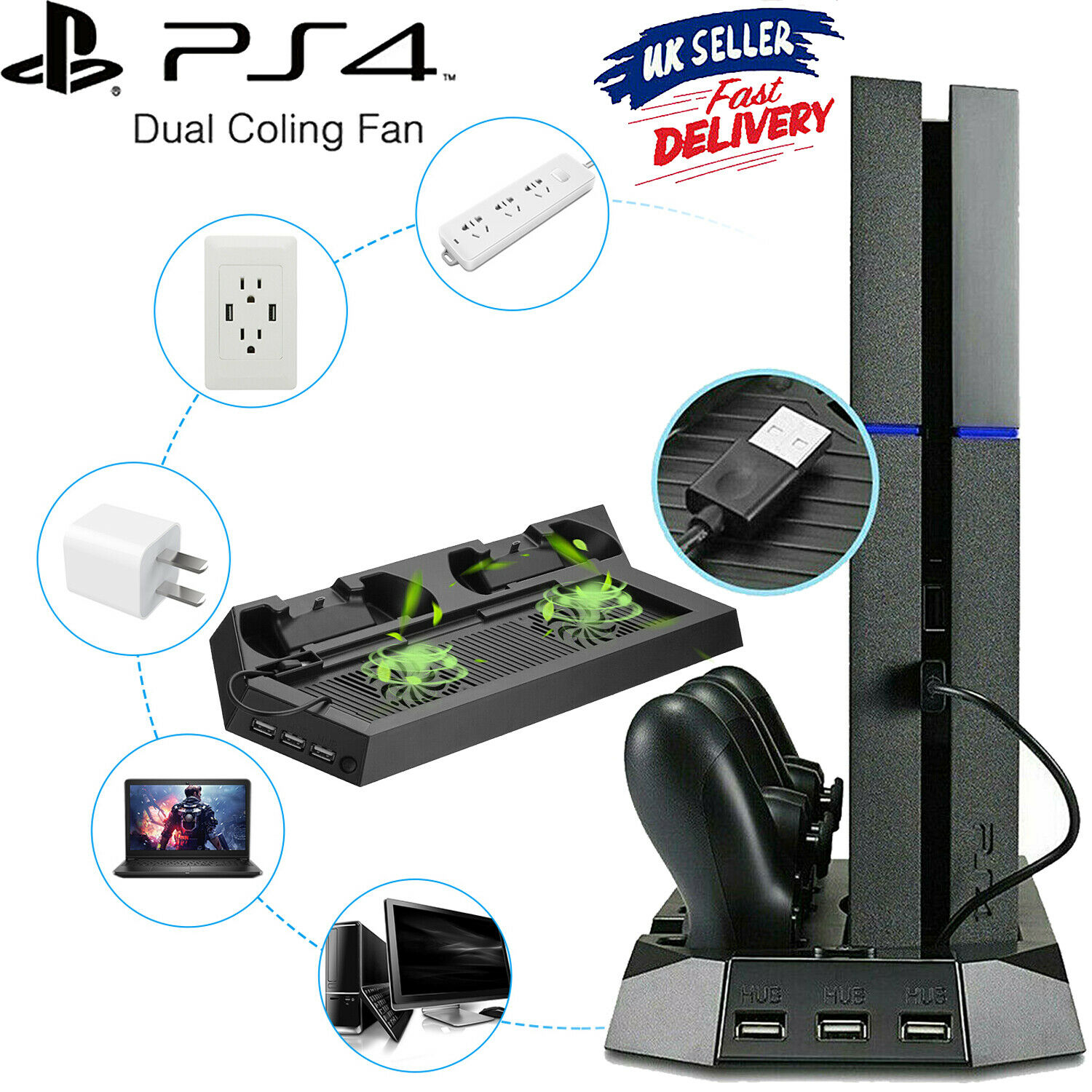For PS4 Pro PS4 Vertical Stand+Cooling Fan Controller Charging Game Dock Station