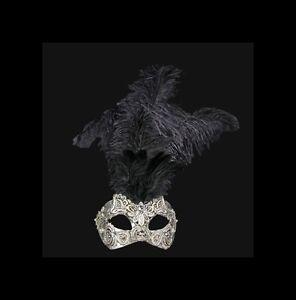 Maschera Di Venezia Macrame Argentato Per Piume Struzzo Nero -maschera V34-570