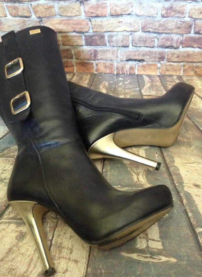 Peditelmy Mid Calf Black Leather Almond Toe Toe Toe Platform Boots gold Buckle Size 37 f0f72c