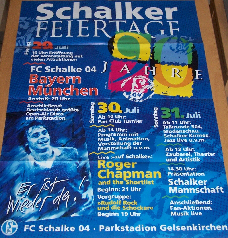 Schalke 04 Parkstadion 1994 Feier 90 Jahre Jahre Jahre Rückkehr Olaf Thon Plakat Sekt 605dd7