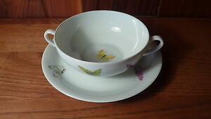 VINTAGE-HAND-PAINTED-FRENCH-LIMOGES-PORCELAIN-CREAM-SOUP-BOWL-SET-BUTTERFLIES