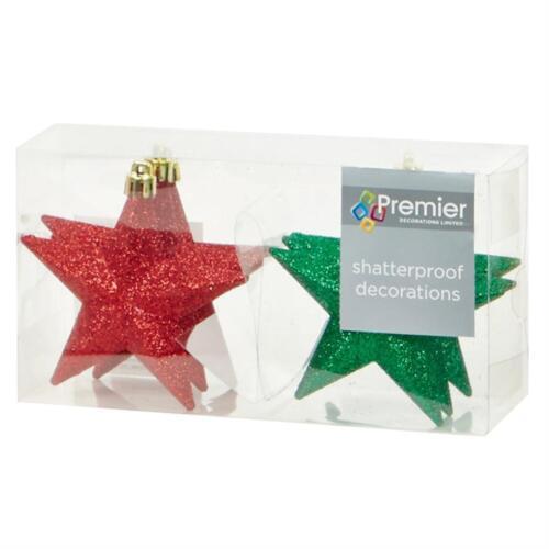 Red Green Christmas Tree Decoration 6 Pack 100mm Shatterproof Glitter Stars