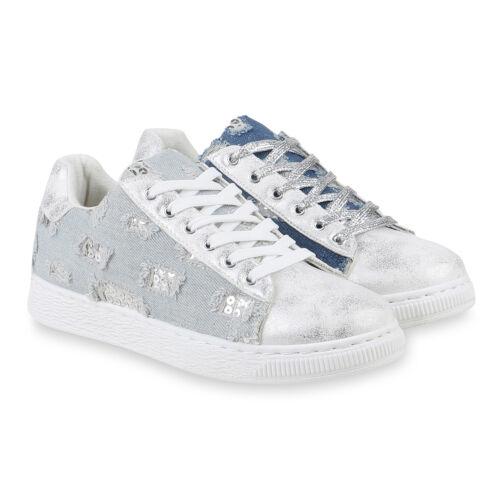 Damen Sneaker Low Denim Stoff Schuhe Turnschuhe Schnürer Flats 820850 Schuhe