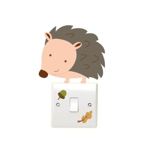 Woodland Hedgehog 3pcs Light Switch Wall Sticker Children/'s Bedroom Playroom Fun