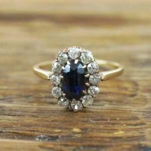 1-75-Ct-Blue-Sapphire-amp-Diamond-Halo-Cluster-Engagement-Ring-14k-Yellow-Gold-GP